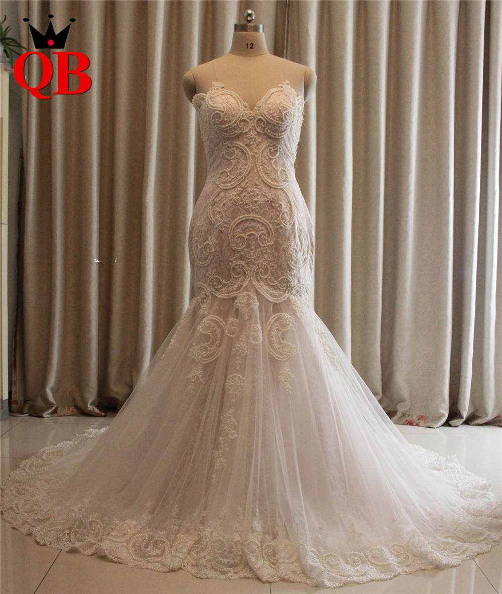 Custom-Made-Mermaid-Lace-Pearls-Sexy-Plus-Size-Bride-Wedding-Gowns-Wedding-Dresses-Robe-de-Mariage