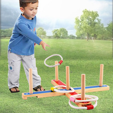 Outdoor wooden environmental protection ring game, children educational parent-child interactive toys, wooden toys