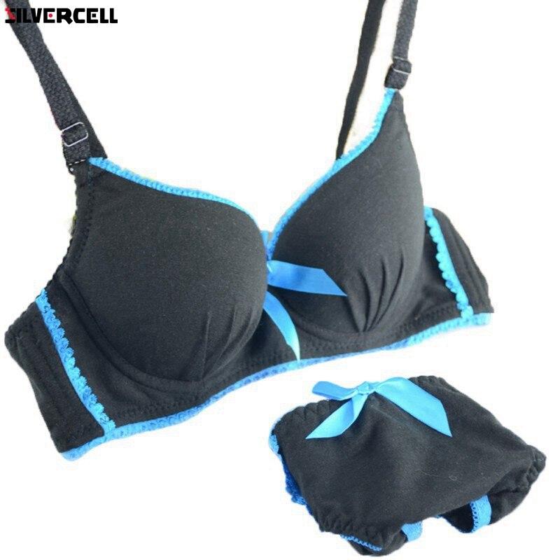 Women Underwire   Bra  +Knicker Girl 2PCS   Bra     Set   Padded Underwear Brassiere 32-36B