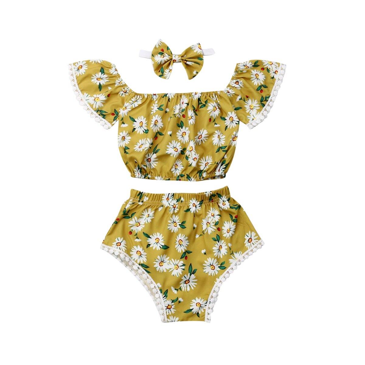0-24M Summer Cute Infant Baby Girls Clothes Sets 3pcs Sunflowers Print Off Shoulder T-Shirts Tops+Shorts+Headband