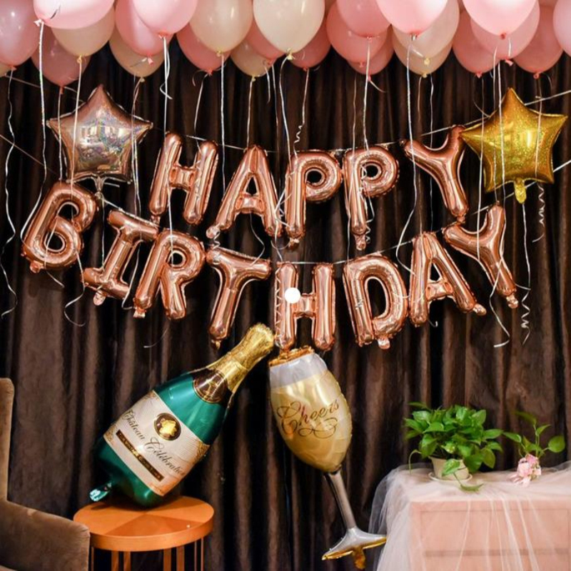 AnQing Rose Gold Party Baloon 18th 21st 30th Birthday Balloon <font><b>18</b></font> 21 30 40 50 Birthday Party Decorations Champagne Cup Balloons image