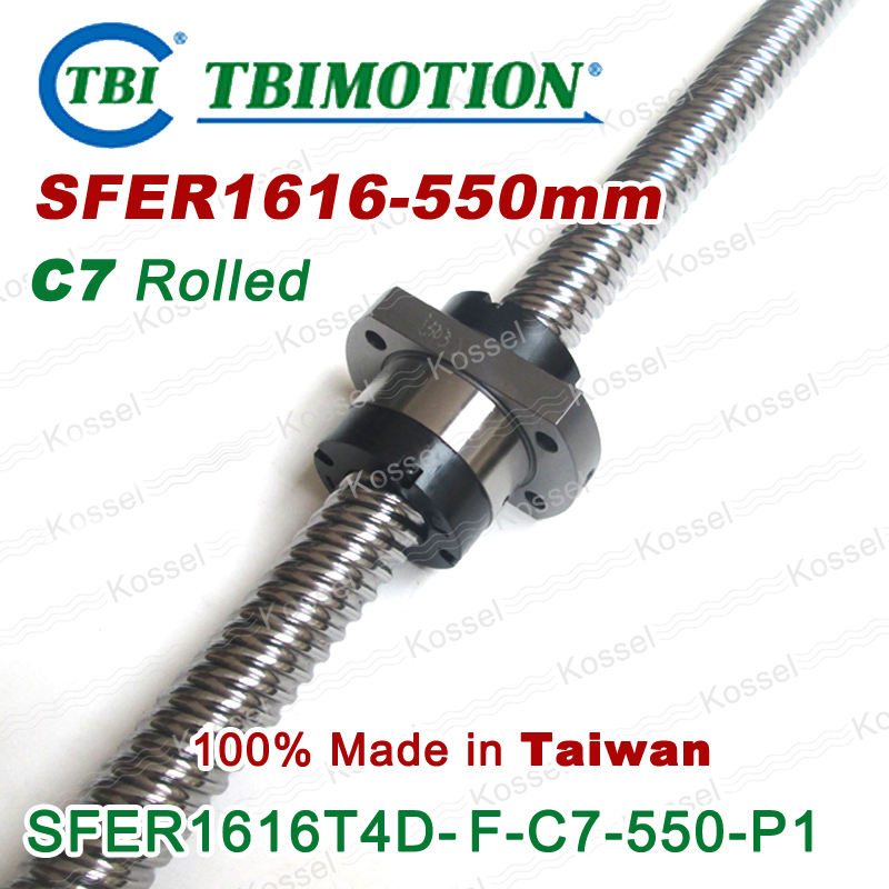 TBI ROLLED BallScrew 1616 ( SFE1616-3 ) SFE1616 / SFER1616-A2-D-F-C7 length 550mm 2 rows steel ball nut горелка tbi 240 3 м esg