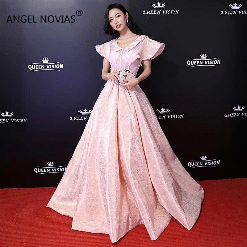 angel novias long plus size pink red carpet celebrity