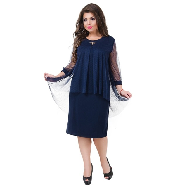 2019 Summer Dress Plus Size Women Dress Elegant Mesh Office Dress Large  Size Sheer Party Dress 1ebd04bfa152