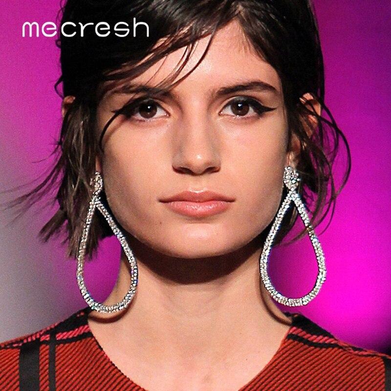Mecresh Silver Color Teardrop Dangle Earrings 2019 Fashion Jewelry Simple  Rhinestone Statement Earrings Women Accessories EH1249 94a455101114
