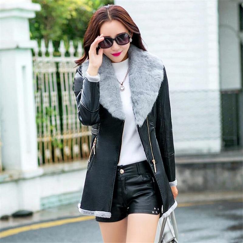 MSAISS 100% Rabbit hair collar Women Winter PU Jacket Thicken Leather Jackets Warm Women Suede Jackets