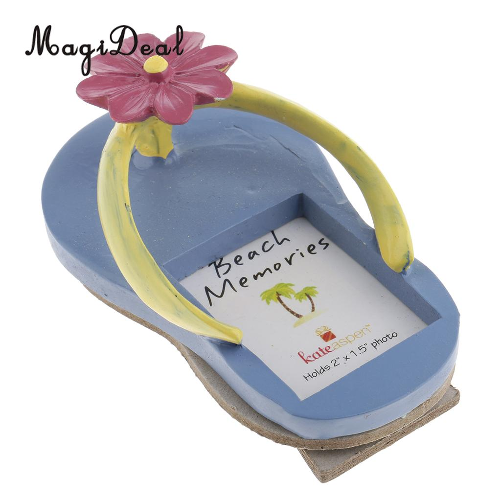 Summer Beach Flower Slipper Flip Flops Resin Picture Photo Frame Birthday  Party Table Place Card Home 4bf6f52577ed