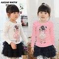 2017 Spring Autumn Korean T Shirt Lovely Girls Children Clothes Baby Child Long Sleeve T-Shirt Cartoon Tops Girl
