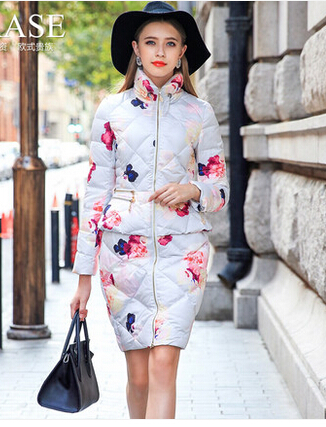 Freeshipping Design Women's Fashion Winter 2015 Print Down Coat Medium-Long Female Outerwear Thickening Down Coat Overcoat
