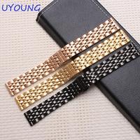 14mm 16mm 18mm 20mm 22mm Soild Stainless Steel Watchbands Black Gold Bracelet For AR1648 AR0389 AR1676