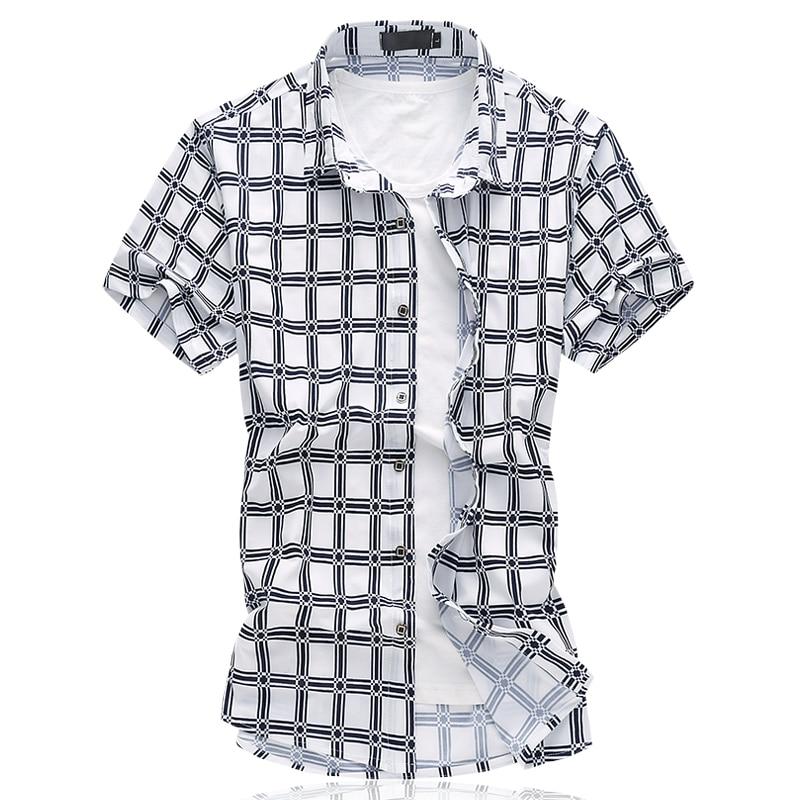 2017 summer British style shirt mens casual fashion short sleeves grid 100% cotton shirts men high quality shirts size M-6XL