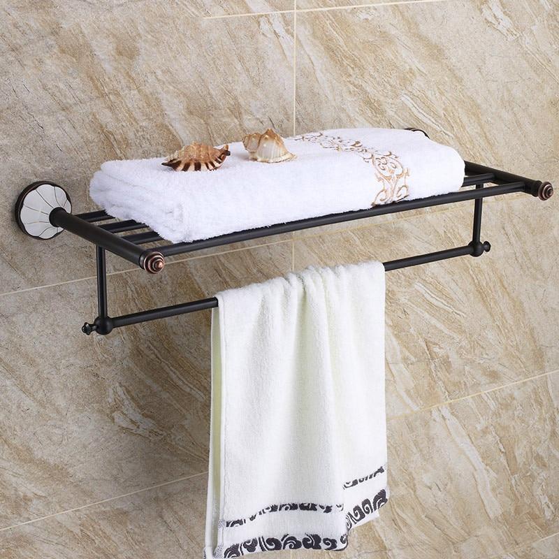 Antique Pendant Villa Black Bronze Retro Towel Rack Double Layer Wall Mounted Bathroom Towel Shelf Lotus Towel Bar Double Layer