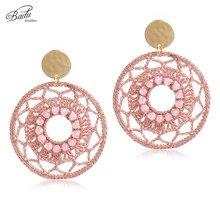 Badu Big Statement Round Crochet Earrings for Women Hollowing Drops Retro Dangle Earring Gift Christmas Jewelry