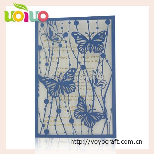 31 33 Venta Caliente Promoción Invitaciones De Boda 2017 Azul Real Elegante Mariposa 50th Aniversario De Boda Tarjeta De Invitación In Tarjetas E