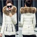 Cuello de piel sintética parka chaqueta de algodón 2016 NUEVO Invierno mujeres de la chaqueta de desgaste de la nieve gruesa capa de la señora clothing chaquetas femeninas Parkas