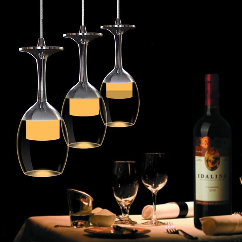 SOLLED LED Modern Minimalist Creative Wine Glass Pendant Lamp Fixture Lighting Chandelier