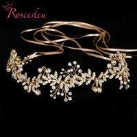 New Vintage Diamante 100 Handmade Bridal Headband Gold Pearl Wedding Hairpieces Wedding Hair Tiaras RE733