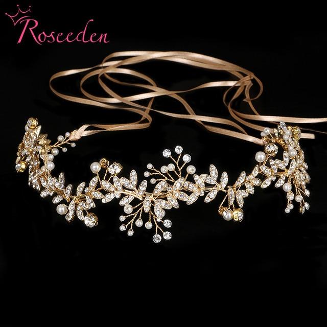 New Vintage Diamante 100% handmade Bridal Headband gold pearl Wedding Hairpieces wedding hair tiaras RE733