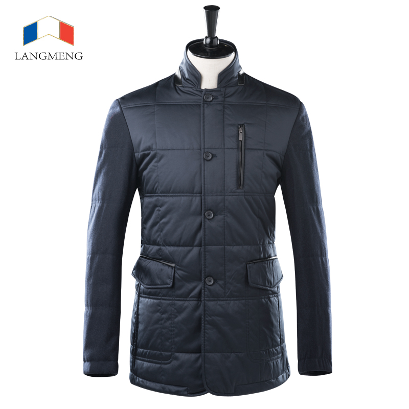 Langmeng 2015 new men splicing jacket winter super warm slim parka coats stylish brand men coat stand collar men jacket coats