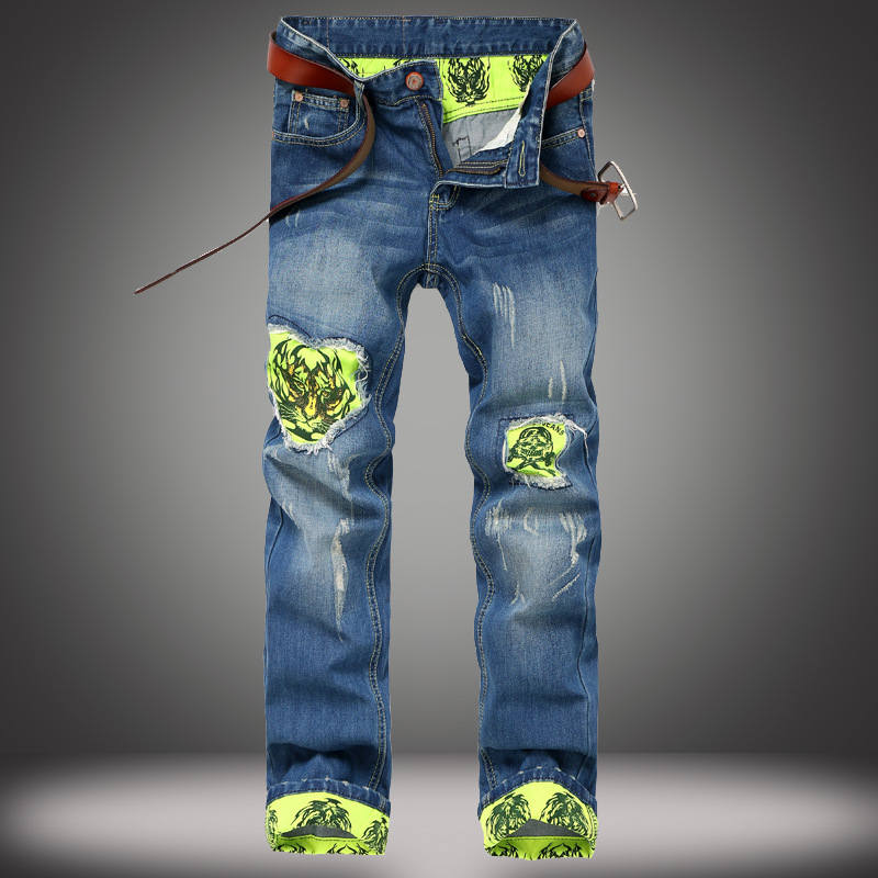 slim straight youth city fashion playing nail jeans washing autumn and winter models men trousers ripped jeans for men b136 Fashion Ripped jeans men straight Slim Fit jeans trousers personality tiger patchwork design green cuffs distressed jeans pants