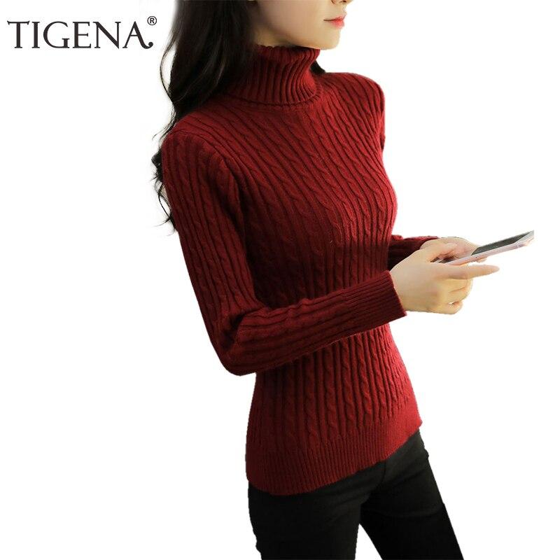 TIGENA Turtleneck Women 2018 Autumn Winter Warm Cashmere Sweater Women Pullovers Jumper Knit Sweater Female Pull Femme Burgundy