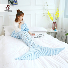 Parkshin Wholesale Light Blue Mermaid Tail Knitted Blanket Soft Crochet Handmade Sleeping Bag for Kid Adult All Season Best Gift hollow out color block crochet knitting mermaid blanket for kid