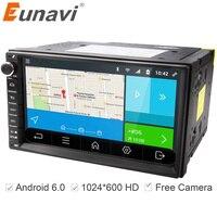 Eunavi 2 din Android 6.0 Araba Radyo multimedya oyuncu 7 inç 2din GPS + Wifi + Bluetooth + Radyo + DDR3 + Kapasitif Dokunmatik Ekran + 3G + ses