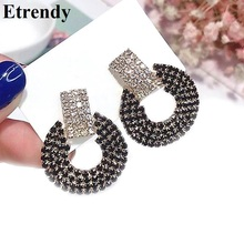 pair of graceful rhinestone circle earrings jewelry for women Rhinestone Round Circle Drop Earrings For Women New Fashion Jewelry Statement Black Dangle Earrings Gifts