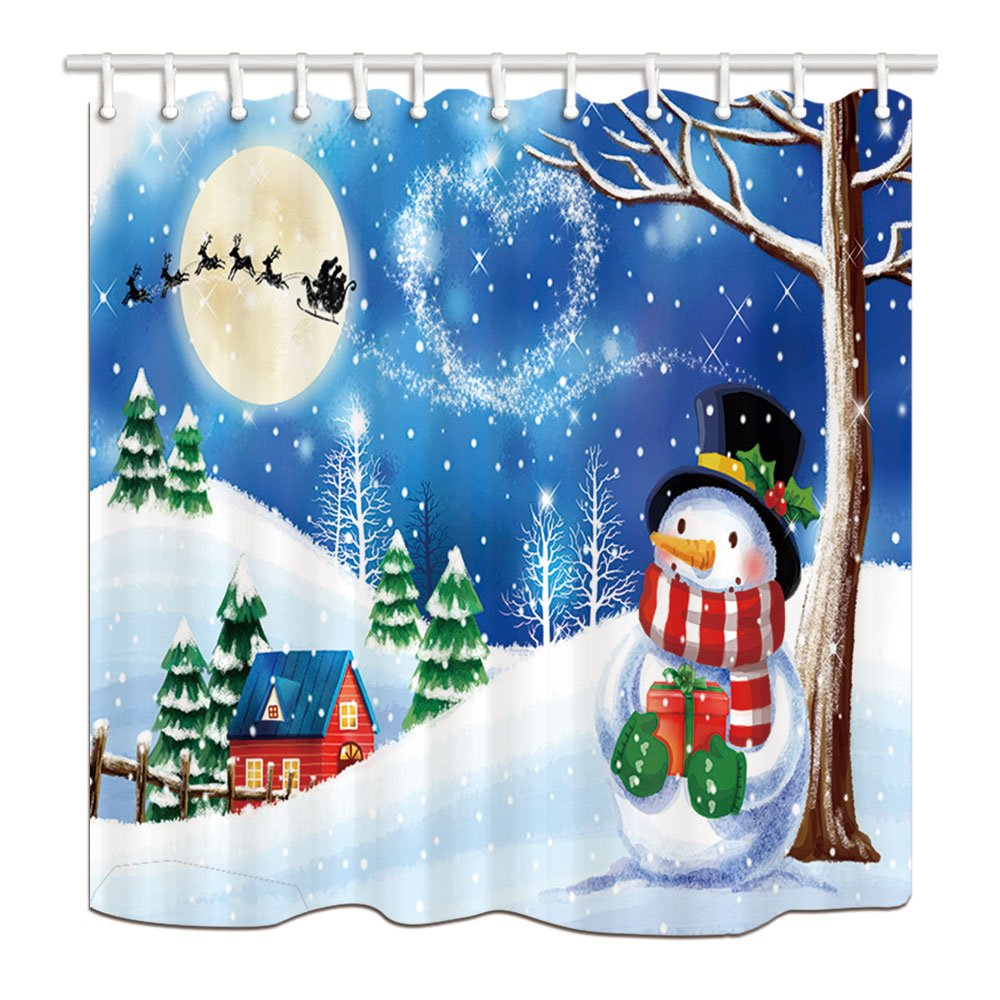 Us 1405 26 Offchristmas Snowman Winter Bath Curtain Red House Full With Xmas Tree Full With Snow Waterproof Shower Curtain For Bathroom In Shower