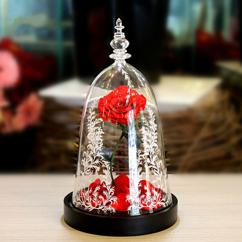 Beauty and the Beast Rose with Fallen Petals in a Glass Dome for Valentine's Gifts Led Light Fresh Preserved Rose Flower