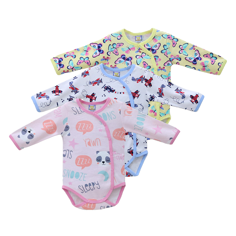 Boys 3 Pieces/lot Bodysuits Baby Girls 100% Cotton Clothes Long Sleeve Clothing For Autumn And Winter Christmas Girl Clothing