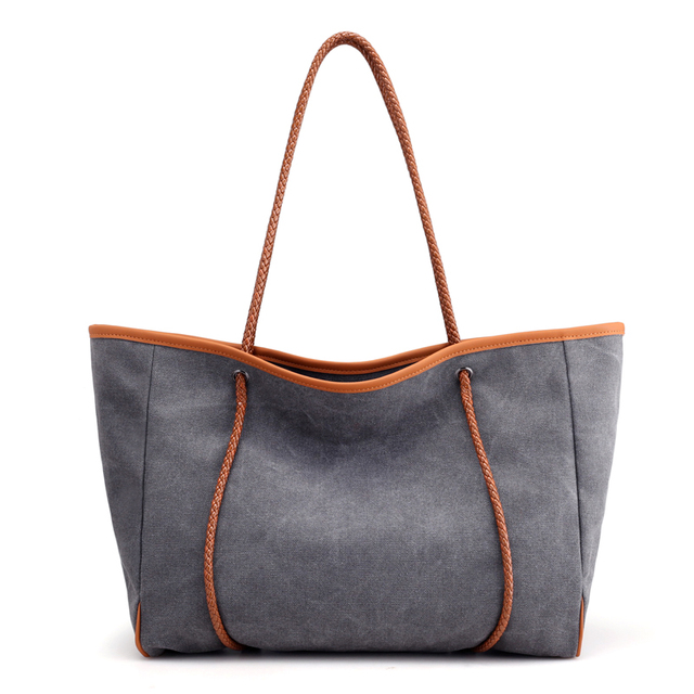 32cea5c3078 Nieuwe Vrouwen Handtassen Canvas Grote Capaciteit Schouder Grote Shopper Tas  Vintage Dames Casual Zomer Strandtas Grey