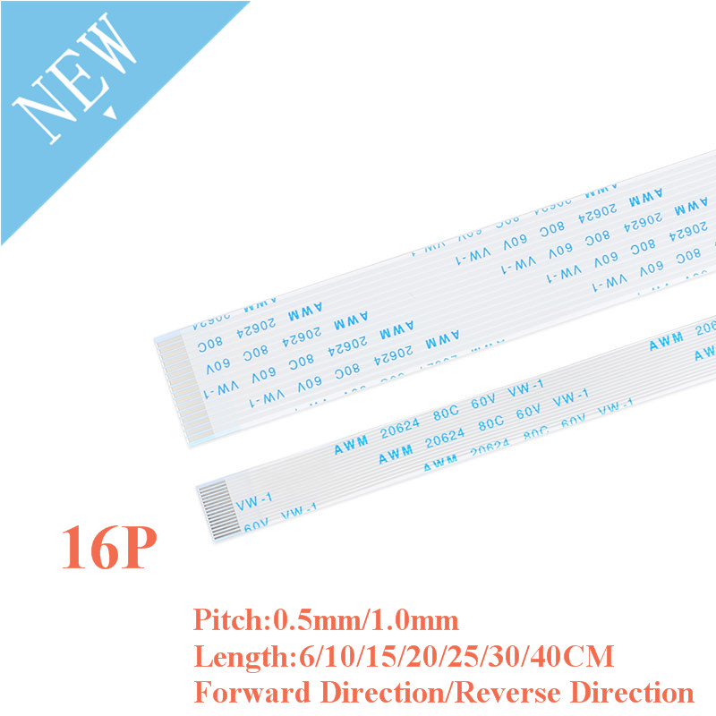 10PCS FPC/FFC Ribbon Flexible Flat Cable 16 Pin 0.5MM/1.0MM Pitch With 6/10/15/20/25/30/40CM Length Forward Reverse Direction