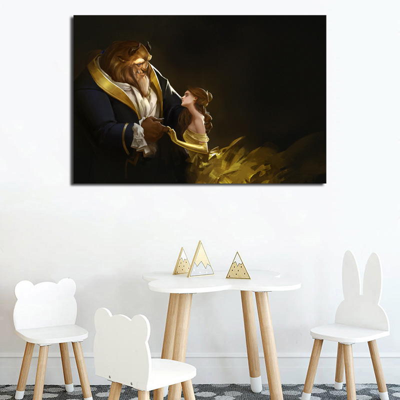 Beauty Beast Emma Watson Monsters Wallpaper Canvas Painting Print Living Room Home Decor Modern Wall Art Oil Painting Poster HD in Painting Calligraphy from Home Garden