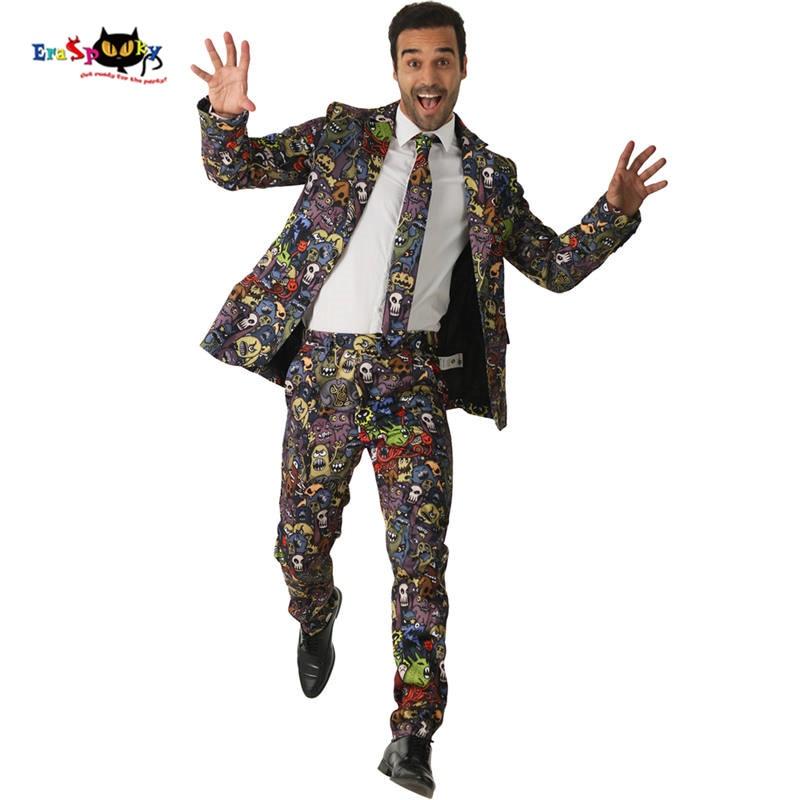 Eraspooky Funny Cartoon monster cosplay men's suits Halloween Costume Adults Club wear carnival party blazer jacket tie suit