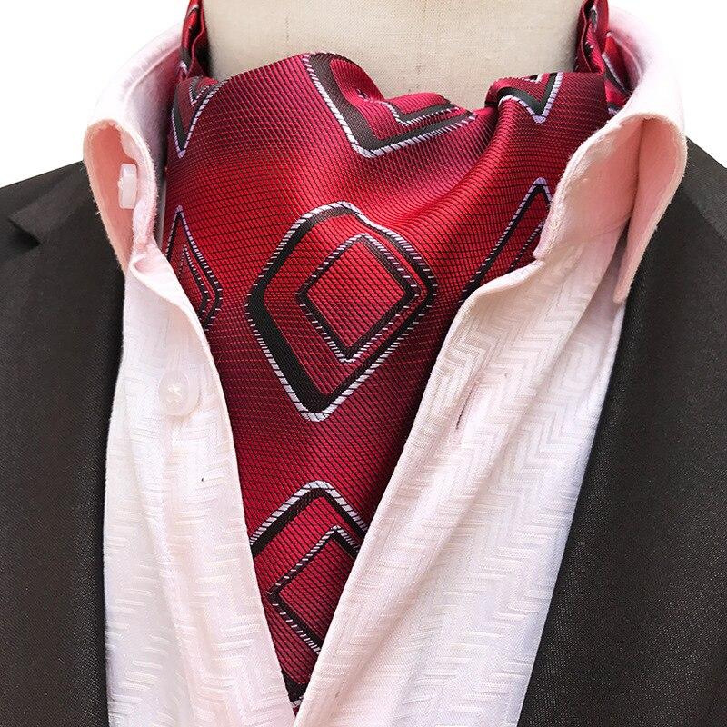 Luxury Gentleman Style Men's Ascot Tie Silk Cravat Paisley Dot Flower Neckerchief Party Prom Wedding Gift Tie