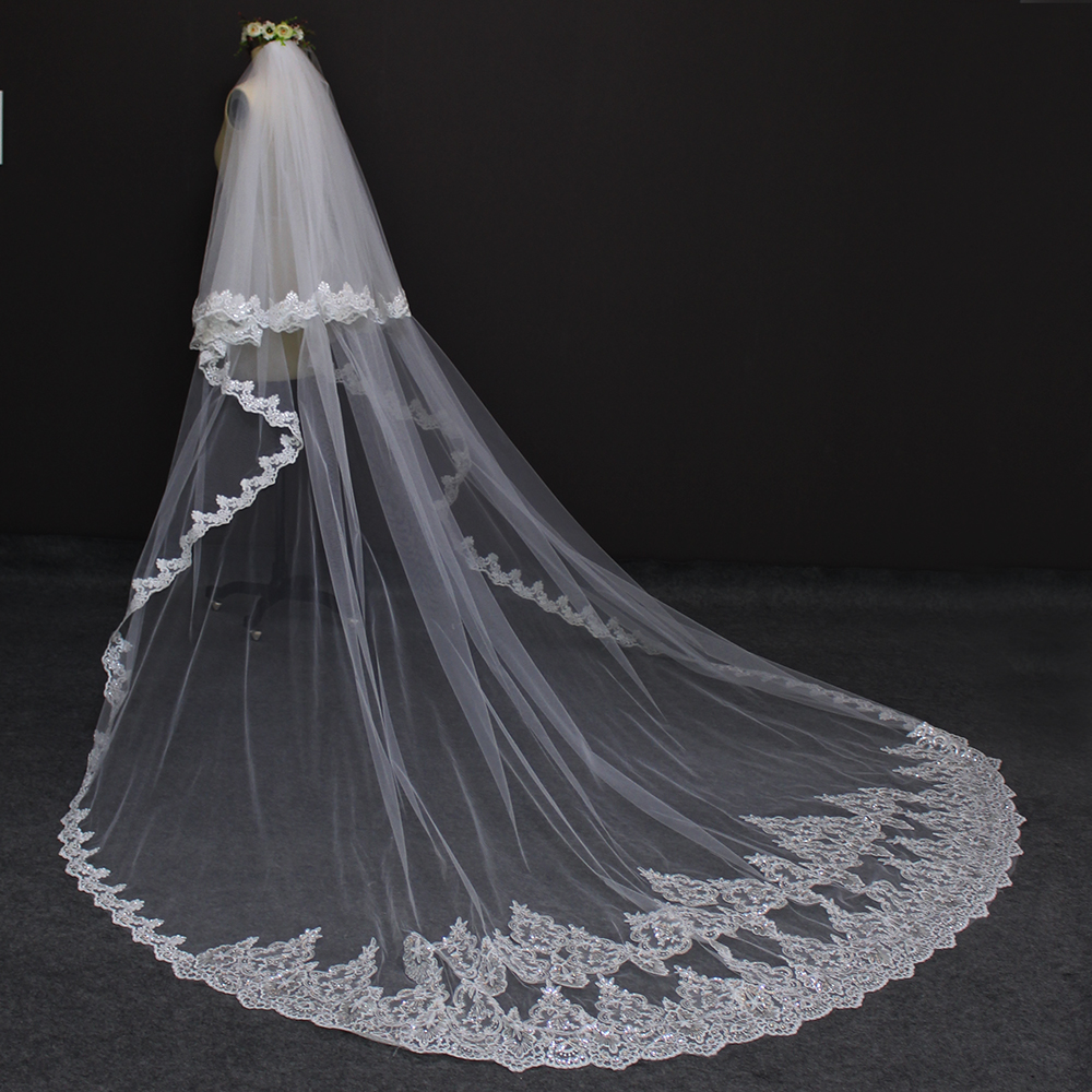 High Quality 3 Meters Long Wedding Veils 2 Layers Bling Sequins Lace Edge Cathedral Bridal Veil with Comb 2019 Velo De Novia in Bridal Veils from Weddings Events