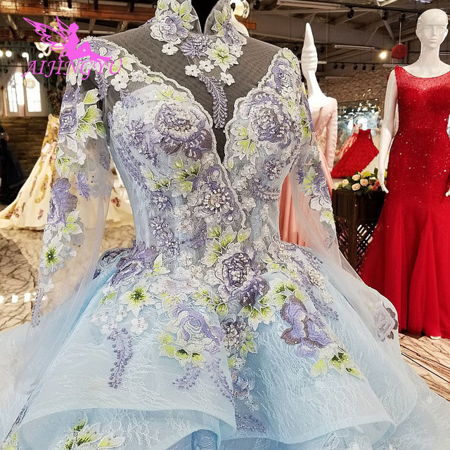 AIJINGYU Glitter Wedding Dress Gowns With Sleeves Exotic Weddimg Sweden Bridal London Gown Designs Long Frocks For Wedding