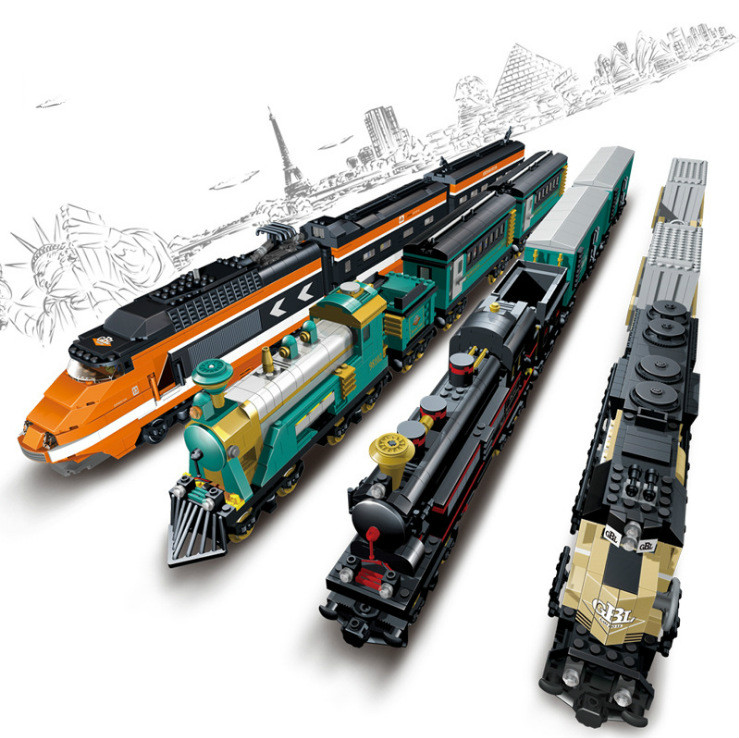 Chemin de fer chemin de fer lumière batterie alimenté électrique classique avec amour Train ville Rail créateur blocs de construction briques garçons pistes jouets