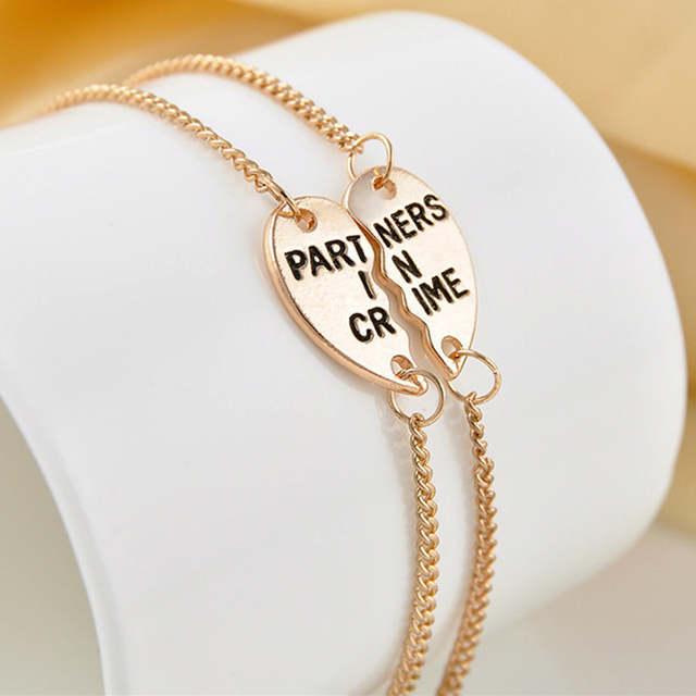 L228 Men Pulseiras Lover Best Friends PARTNERS IN CRIME Heart Charm Chain  Link Bracelets for Women Jewelry Girl Mujer Bracciali