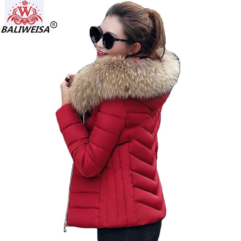 BALIWEISA New 2019 Female Coat Autumn With Fur Collar Hooded Cotton Padded Winter   Jacket   Women Short Outwear   Basic     Jacket