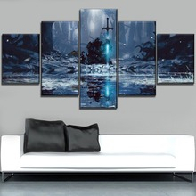Forest Frozen Sword Knight And Dragon Painting On Canvas Printing Type The Wall Decorative One Set 5 Piece Modular Poster