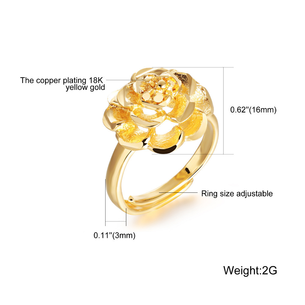 Luxury Fashioin Gold Plated Cute Ring Big Flower Design Finger ...
