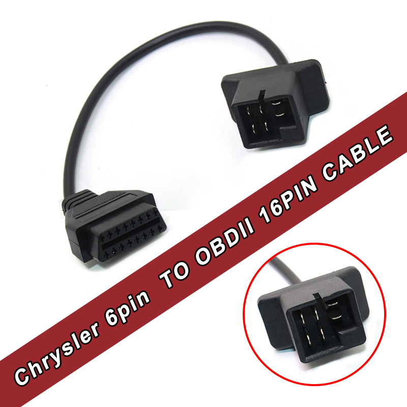 Best for Chrysler 6pin to OBD 16Pin auto diagnose adapter Extension cable Free Shippment
