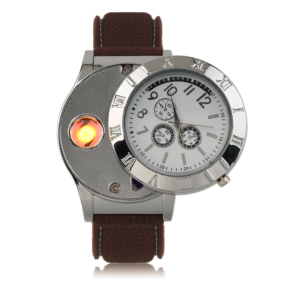 Professional Environmental Electronic Lighter Quartz Watch USB Rechargeable Lighter Watch with LED Indicator Light