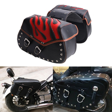 2x Red Flame Motorcycle Luggage For Harley Saddle Bag with Rivets Saddlebag For Yamaha Honda Motorbike Accessories #MBH256