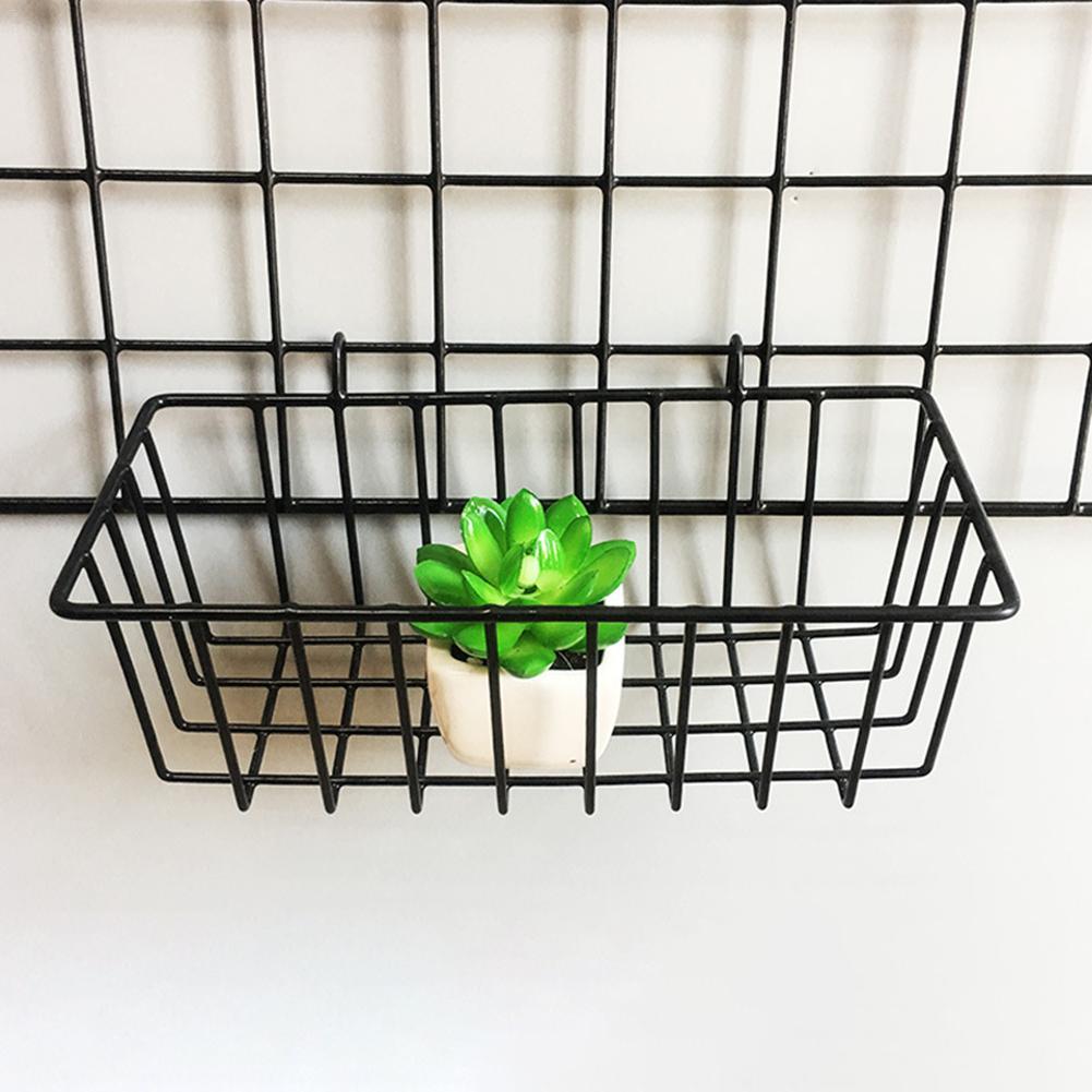 Grid Hanging Basket Innovative Flower Pot Shelf Iron Wall Mounted Decoration Iron Frame Hanging Display Rack Indoor Storage