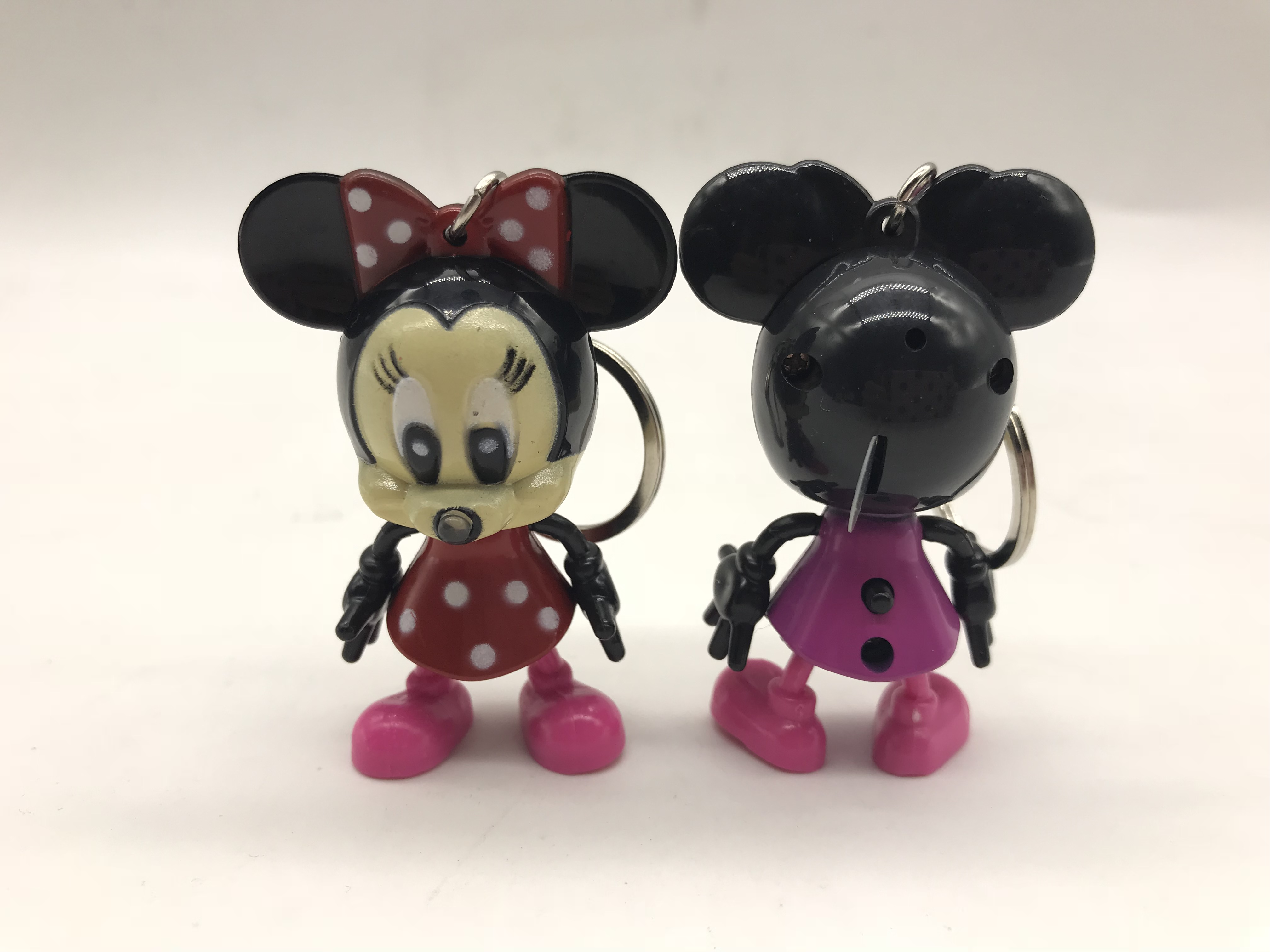 Cartoon Mickey Mouse LED Keychain with Flashlight & Sound keyring for gifts pendant /Mini Torch Light Action Toy Figures Minnie