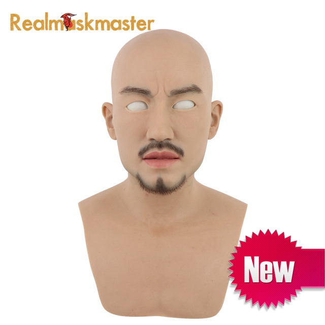 Realmaskmaster male latex realistic artificial adult silicone full face mask for man party supplies fetishfake halloween masks