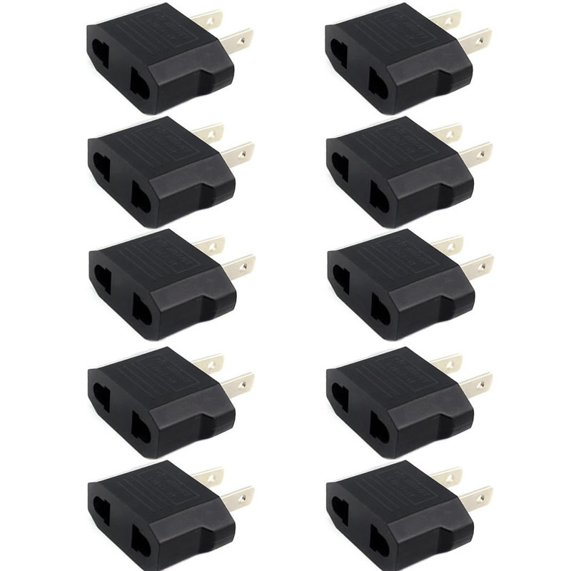 10Pcs European Euro EU to US USA Plug Travel Charger Adapter Outlet Converter #4XFC# Drop Shipping